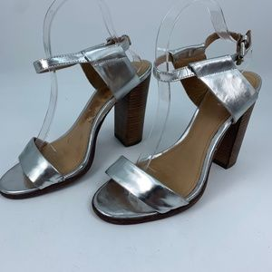 Coach 8.5 sandals heels silver ankle strap chunky